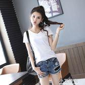 夏裝白色短袖T恤女V領寬鬆純棉2019新款純色學生上衣韓版丅恤女裝 小艾時尚