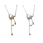 925純銀項鍊+鋯石吊墜-鏤空月亮八芒星流蘇女飾品2色74aq17【巴黎精品】