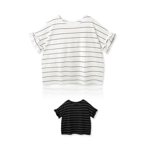 MIUSTAR 正韓‧橫條荷葉袖超寬版棉質上衣(共2色)【NF0575RE】預購