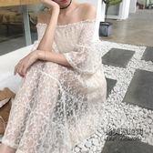 蕾絲鏤空裹胸漏肩一字領寬鬆顯瘦小清新氣質chic風連身裙