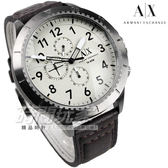 A|X Armani Exchange 三眼多功能計時碼錶 數字休閒皮帶錶 男錶 AX1757