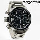 【萬年鐘錶】elegantsis 三眼戰鬥狙擊鏡造型元素風格  銀x深灰x黑框  大錶徑 48mm  ELJF48K-OB03MA
