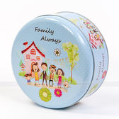 Breadleaf 全家福~B034 ~6 吋圓鐵盒包裝盒糖果盒