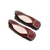 春平底方頭單鞋女淺口平跟方扣軟底奶奶鞋軟皮舒適上班鞋船鞋瓢鞋
