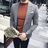 2019秋冬男士韓版休閒西裝發型師細條紋毛呢外套男潮流一粒扣西服
