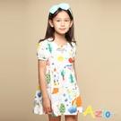 Azio 女童 洋裝 滿版彩色童趣塗鴉短袖洋裝(白) Azio Kids 美國派 童裝