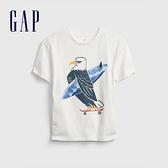 Gap男童 趣味印花純棉短袖T恤 689802-白色