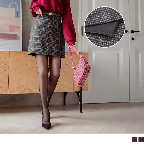 《CA1895-》質感格紋毛呢短裙褲裙(附腰帶) OB嚴選