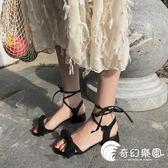 涼鞋-春夏新款交叉綁帶涼鞋女學生平底網紅仙女鞋搭配長裙子的鞋子-奇幻樂園