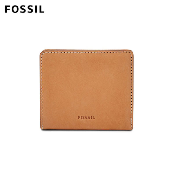 FOSSIL Emma 復古淺駝色真皮RFID迷你短夾 SL7150231