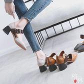 春季鞋中跟復古奶奶鞋女粗跟一字扣方頭單鞋