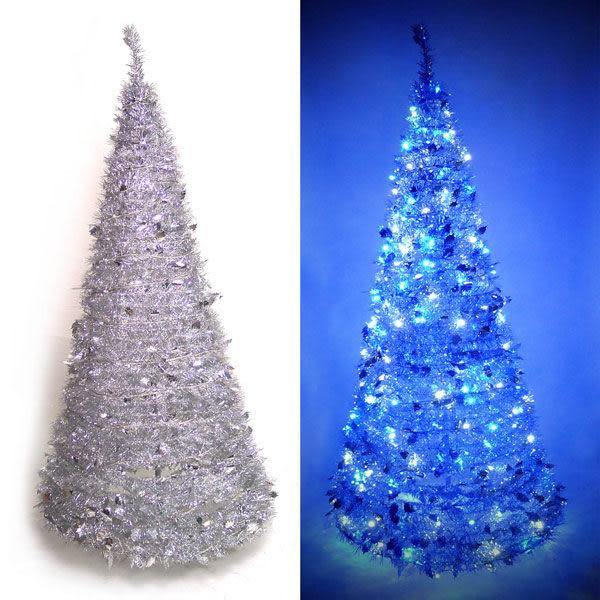 6尺/6呎(180cm) 創意彈簧摺疊聖誕樹 (銀色系)+LED100燈串一條 (9光色可選)(本島免運費)