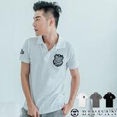 專櫃POLO衫【EH88034】OBIYUAN 韓版修身左胸徽章短袖上衣 共2色