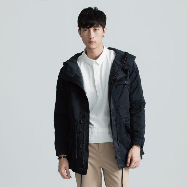 SISJEANS-藏青鋪棉防風連帽風衣外套【1627300583】