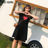 中大尺碼 黑色愛心短袖長洋裝 - 適XL~4L《 68108 》CC-GIRL