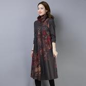 秋冬民族風中長款大碼寬鬆印花長袖連衣裙女士復古百搭高領長裙潮