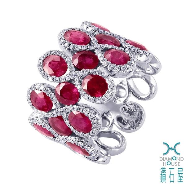 【鑽石屋】紅寶鑲鑽戒指