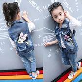 女童牛仔馬甲春夏秋兒童裝中大童背心外套夏裝寶寶韓版刺繡馬甲