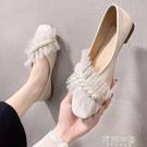 豆豆鞋 單鞋女夏新款網紅女鞋子仙女風方頭平底奶奶鞋淺口豆豆鞋女潮 阿薩布魯