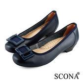 SCONA 全真皮 簡約舒適方釦跟鞋 藍色 22335-3