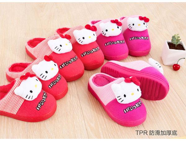 Hello Kitty兒童拖鞋包跟女童冬新保暖拖鞋室內居家鞋棉拖親子款