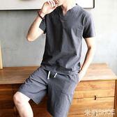 棉麻套裝 棉麻短袖男青年純色V領亞麻半袖打底衫中國風男裝體恤 米蘭shoe