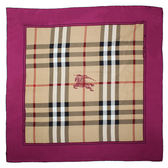 BURBERRY  Horseferry 格紋絲綢大方巾(桃粉色)089531