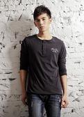 【BTIS】3/4-sleeve Henley Neck Tee 亨利領男七分袖T恤 黑色