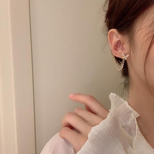 耳飾 蝴蝶耳釘女氣質韓國個性耳夾耳環一體式超仙流蘇耳飾2021年新款【快速出貨八折鉅惠】