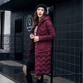 現貨酒紅L防風外套冬季韓版寬鬆連帽輕薄中長款羽絨棉服棉衣女潮(現貨)22933
