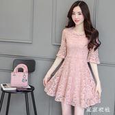 連衣裙 夏季新款短袖蕾絲連衣裙女修身高腰A字裙百搭荷葉袖釘珠裙 QQ4748『東京衣社』