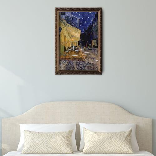 梵谷-夜晚露天咖啡座油畫裱框60*90cm