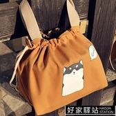 日式可愛卡通飯盒袋手提便當包小身材大容量帆布抽繩學生帶飯包