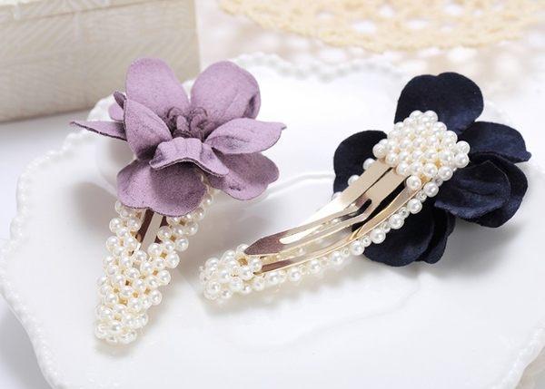 正韓氣質珍珠花朵髮夾髮飾~夏綠蒂didi-shop