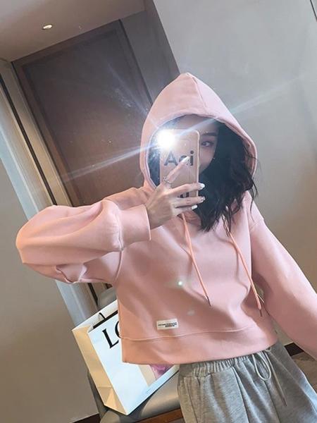 短款上衣 連帽衛衣女春秋薄款2021新款粉色小個子短款套頭ins潮設計感上衣 韓國時尚週