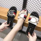 拖鞋女夏時尚外穿2019新款沙灘外出韓版鉆扣坡跟涼拖室外平底涼鞋