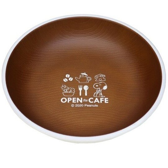 小禮堂 史努比 日製 仿木紋圓盤 沙拉盤 點心盤 塑膠盤 兒童餐盤 (棕 cafe) 4991277-25185