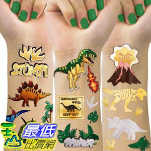 [8美國直購] Dinosaur Temporary Tattoos For Kids, 4 Sheet Dinosaur Tattoos For Dinosaur Birthday Party Supplies Favors