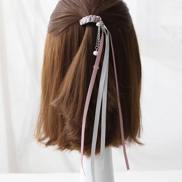 Qmigirl 韓版扭結編織墬飾髮圈 撞色飄逸長條彈力髮圈 髮飾【QG2447】
