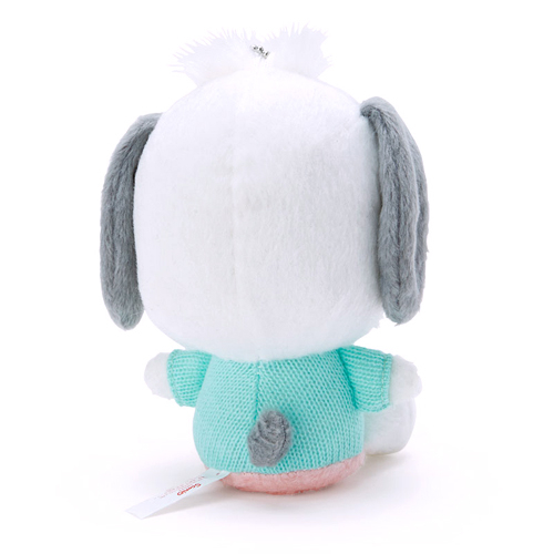 Sanrio 絨毛造型玩偶珠鍊吊飾娃娃 帕恰狗 口罩 綠白_935701