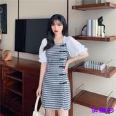 洋裝 中國風改良版旗袍盤扣性感開叉格紋百搭泡泡袖連身裙