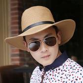 戶外大沿遮陽帽防曬太陽帽子男士沙灘草帽夏天韓版潮休閒英倫透氣