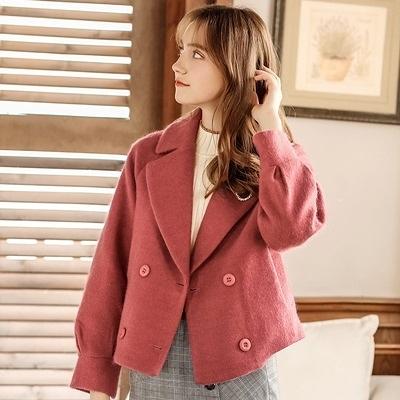毛呢外套-短版純色雙排扣氣質保暖女大衣2色73ui10【巴黎精品】