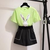 套裝中大尺碼夏韓版原宿風學生純棉T恤 短褲3121(R27-B)