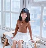 女童t恤2020春秋裝新款洋氣娃娃領白色打底衫純棉兒童女寶寶上衣 聖誕節免運