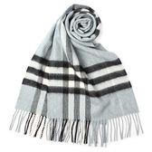 BURBERRY經典格紋喀什米爾羊毛圍巾(淺灰粉藍)089510-19