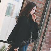 披肩斗篷外套秋冬季寬松套頭蝙蝠袖加厚針織衫女高領流蘇毛衣