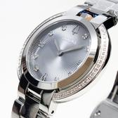 [萬年鐘錶]  BULOVA寶路華 晶鑽點綴女錶 閃銀藍螺紋錶面 銀鋼帶 女錶 96R219