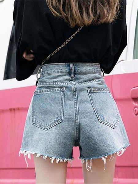 牛仔熱褲 泫雅同款牛仔短褲女2020寬鬆高腰顯瘦薄款超火cec闊腿a字熱褲外穿 夢藝
