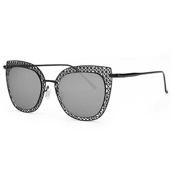 OT SHOP太陽眼鏡‧抗UV金屬縷空雕花鏡框鼻墊加高墨鏡‧玫瑰金/反光黑/反光藍‧現貨三色‧P28